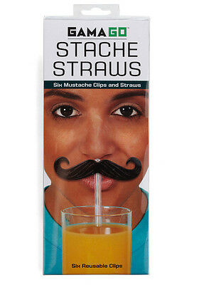 Novelty Moustache Straws by Gama Go  Set of 6 Re-usable Straws Great Fun!
