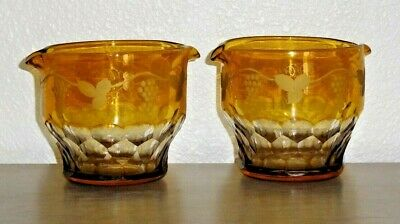 2  Antique Victorian Era Wine Rinsers- Amber & Crystal with Grape Leaf Pattern