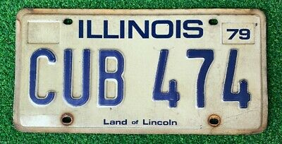 Vintage 1979 Chicago Illinois Cub License Plate Chicago Cubs Land Of Lincoln