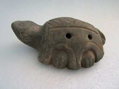 RARE Authentic Original Pre Columbian Turtle Shape Ocarina Clay Whistle