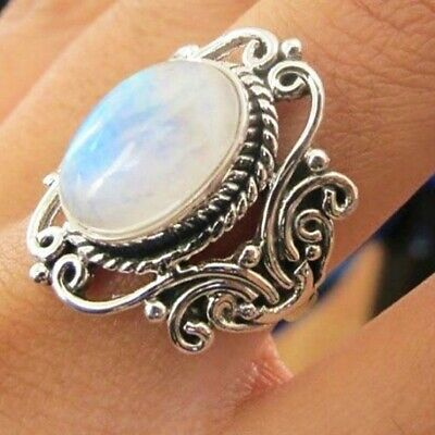 925 Silver Ring Woman Man White Fire Opal Moon Stone Wedding Engagement Gift NEW