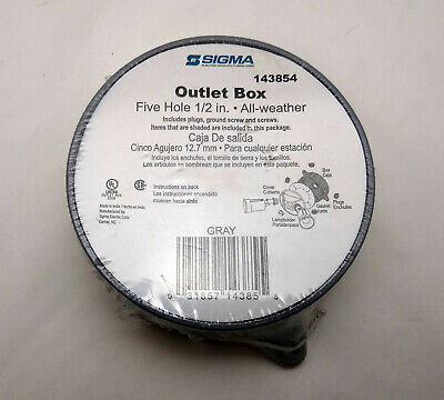 Sigma 143854 Outlet Box Five Hole 1/2 in. All-Weather GRAY NEW Shrinkwrap