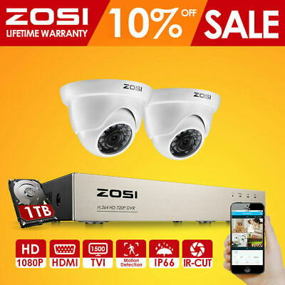 ZOSI 8CH CCTV System 1080P Security Camera Outdoor TVI HDMI DVR Video Home 2.0MP