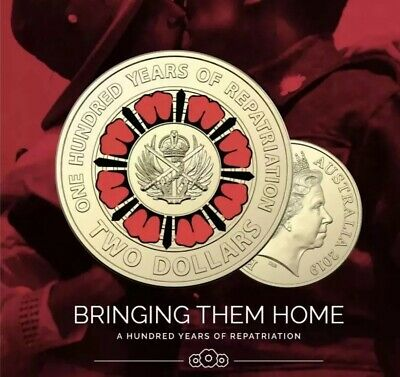 2019 Repatriation 'Bringing Them Home' Colourised Anzac $2 Coin Free Au Post