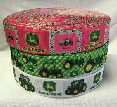 John Deere Tractor Grosgrain Ribbon designs sold by 2m - 1' Wide- Craft - Cake