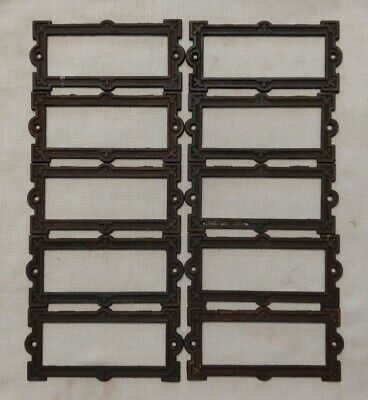 Antique Eastlake Style Victorian Cast Iron Cabinet Card Label Holders Set of 10