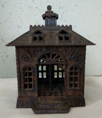 """Antique State Bank Building Cast Iron Still Bank by Kenton 5 3/4"""" Missing Door"""