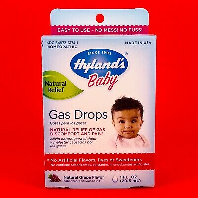 Hyland's Baby Gas Drops Homeopathic Relief Gas Discomfort Pain GRAPE Flavor 1 oz