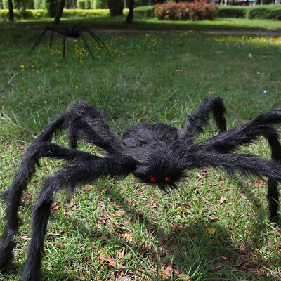 200CM Black Plush Giant Spider Decoration Halloween Haunted House Garden Props