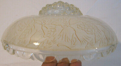 VINTAGE 1930/40'S 3-Hole CHAIN CEILING LIGHT FROSTED EMBOSSED SHADE