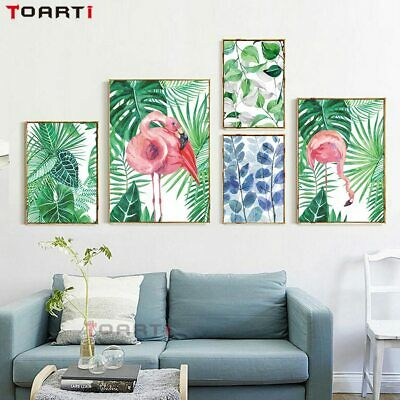 Watercolor Plants Leaves Flamingos Canvas Art Painting Print And Posters Wall