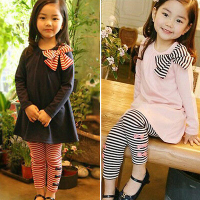 2pc Girls Kids Tops Shirt Dress Striped Pants Winter Casual Clothes Outfits Set