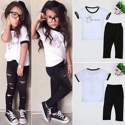 2PCS Kids Girls Shirt Tops + Ripped Long Pants Trousers Leggings Outfits Set