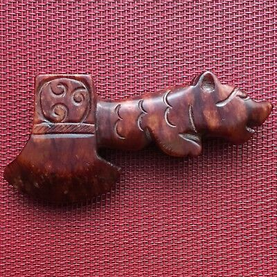 Chinese Old Natural Jade, Hongshan Culture Hand Carved Ax, Beautiful Rare Color.