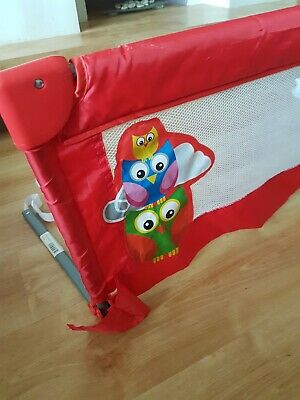Bed Rail / Barrier - Red with Owls