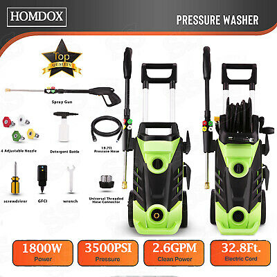 Homdox 3500PSI 1800W Electric Pressure Washer 2.6GPM Cleaner 5 Nozzles Hose Reel
