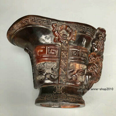Marked Natural Ox Horn Carving Pixiu Brave Troops Beast Cup Tumbler LLL