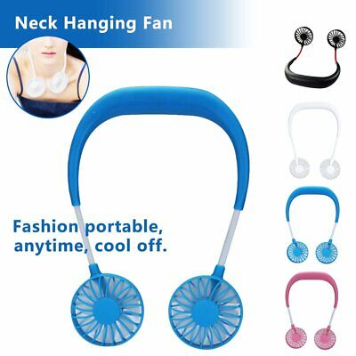 Portable USB Micro Rechargeable Mini Neckband Lazy Neck Hanging Fan Cool HI