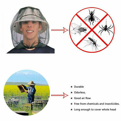 UK Mosquito Fly Head Net Insect Mesh Hat Bee Bug Protector Outdoor Fishing Tool