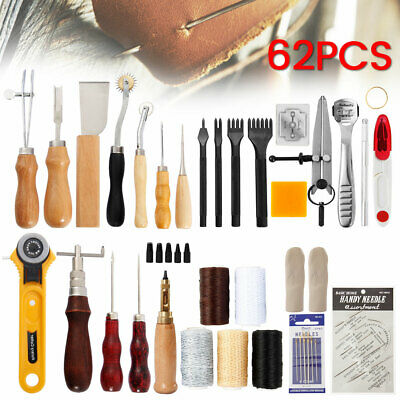62Pcs Leather Craft Hand Tools Kit Set for Hand Sewing Stitching Stamping Making