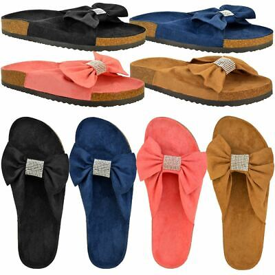 Womens Ladies Flat Comfy Bow Diamante Molded Sole Mules Sliders Slippers Shoes