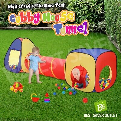 Kids Toddler Indoor Cubby Playhouse Tunnel Teepee Play Tent Crawl Tunnel 3Pcs