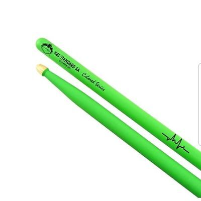 HEARTBEAT Colored Drum sticks, Green 5A Oval wooden tip ALL THE COLORS AVAILABLE