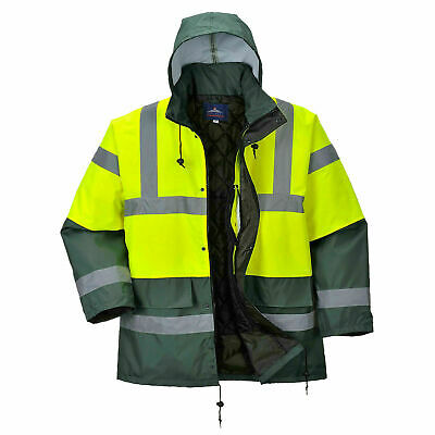 Portwest US466 100% Polyester Waterproof Hi-Visibility Contrast Traffic Parka
