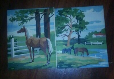 Vintage Paint By Numbers Horse Scene 10 x 8. 1950s-60s