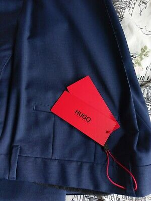 HUGO BOSS Mens formal trousers 34R New with tags. Blue Slim fit