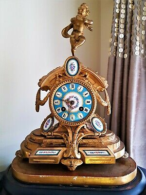 Antique French Gilt Figural Mantel Clock with Sevres Porcelain Panels & Stand.