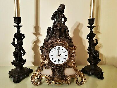Antique French Gilt & Bronzed Metal Figural Mantel Clock.