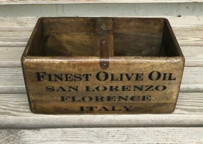 Rustic Antique Vintage FINEST OLIVE OIL Wooden Box Crate Trunk Size M