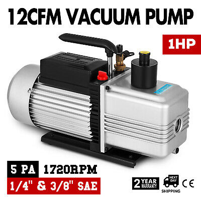 12CFM Vacuum Pump Rotary Deep Vane Single Stage Refrigeration 1 HP HVAC AC
