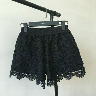 Women Lace Shorts Patchwork Safety Hot Pants Elastic Waisted Mini Trousers