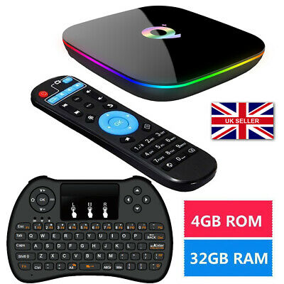 2019 Q-Box Plus Quad Core 4GB+32GB Android 9.0 TV Box HD Smart+Wireless Keyboard