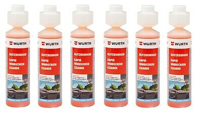 6x NEW Wurth SUMMER RAPID Screen Cleaner Screenwash Concentrate 250ml 0892333250