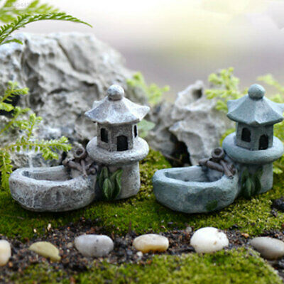 24F9 BFBD Retro Micro Landscape Pond Tower Decor Crafts Bonsai Garden Miniature