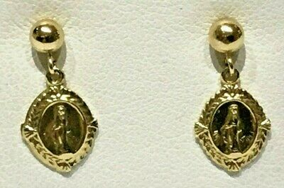 BEAUTIFUL! 14 Karat Yellow Solid Gold Dangle Blessed Mary Earrings.1.5 Grams!