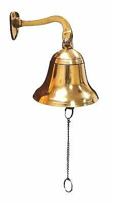 """Wall Hanging Ship Bell with Rope Dinner Bell Tip with Mounting Bracket 4"""" Brass"""