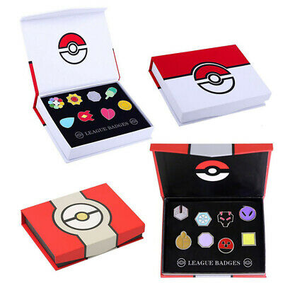 Pokemon Orden - Johto / Kanto Region - 8 Pins in Box - Souvenir Geschenkidee
