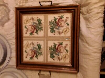 4 X Minton Tiles Inset In Victorian Tray With Brass Handles