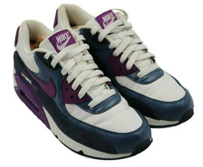NIKE WOMENS LADIES Airmax 90 White Purple Navy Size 8