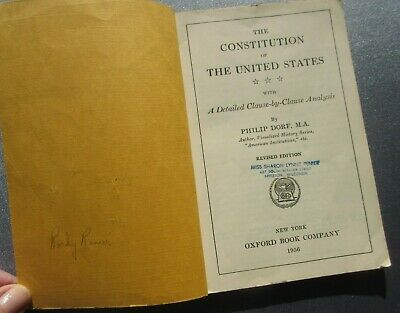 Vintage The Constitution of The United States With . . Analysis, Oxford Bk, 1956