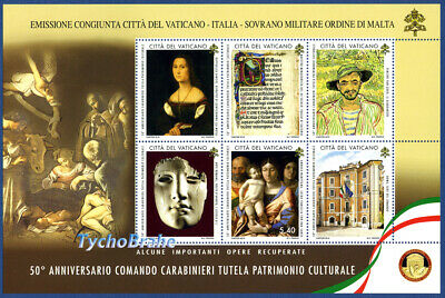 SHEET Stamps 50° CARABINIERI Unit Protection CULTURAL HERITAGE 2019 VATICAN MNH