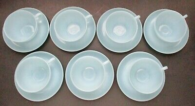 VTG 7 Turquoise Blue Tea Coffee Cups w Saucers Fire King Anchor Hocking Glass