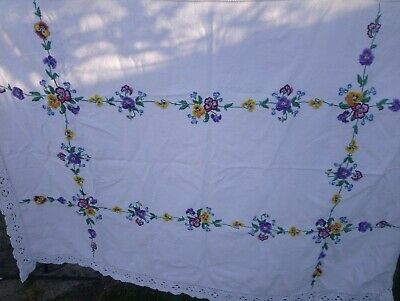 Vintage Hand Embroidered Linen Tablecloth with Flowers