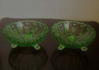 Pair of Art Deco Green Glass 3 Footed  Bon Bon /Nibbles Dishes 12 cm Diameter