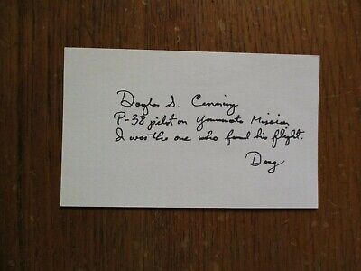 DOUGLAS  S.  CANNING(Died in 2016)(WWII, KOREA, VIETNAM)(Signed 3 x 5 Index Card