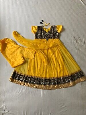 Girls 3 Pc Anarkali Dupatta Suit Sz L Indian Pakistani Yellow Black Dress New